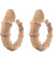 natori acacia wood bamboo earrings, women's