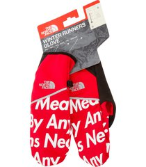 supreme tnf winter runners gloves - red