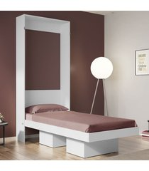 cama de solteiro manhattan articulável 2 nichos branco - art in móveis