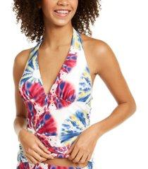 tommy hilfiger tie-dye halter tankini top women's swimsuit