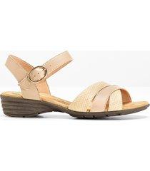 sandalo comodo in pelle (beige) - bpc selection