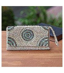 beaded wristlet, 'circle of beauty in beige' (indonesia)