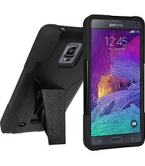 amzer double layer hybrid case with kickstand - black for samsung galaxy note 4