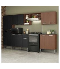 cozinha completa compacta c/ armário balcáo c/ tampo 5 pçs pequim jazz multimóveis carv. avelá/pto