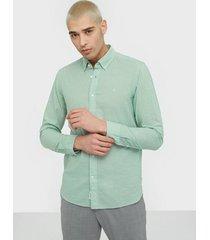 calvin klein button down cotton linen shirt skjortor green
