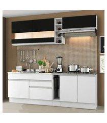 cozinha completa madesa parma com armário e balcão (sem tampo e pia) branco/branco/preto branco/branco/preto
