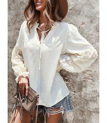 camicetta da donna allentata a maniche lunghe annodata con scollo a v tinta unita