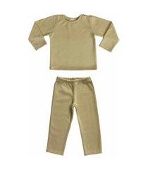 conjunto de pijama em soft grosso douvelin bege