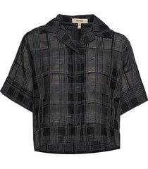 mackenzie geometric overhemd met korte mouwen zwart whyred
