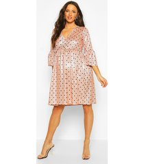 maternity glitter polka dot smock dress, pink