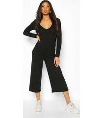 knitted rib v-neck plunge culotte jumpsuit, black