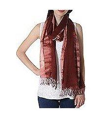 tie-dyed cotton shawl, 'maroon mythos' (india)
