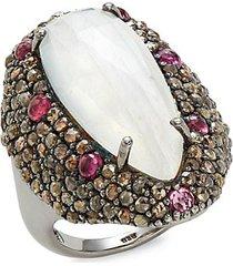 black rhodium-plated sterling silver, rainbow moonstone, pink sapphire & diamond statement ring