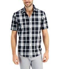 club room men's monochrome plaid shirt, created for macy's