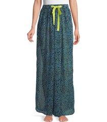 free people women's sleepin in printed chiffon wide-leg pants - navy combo - size m