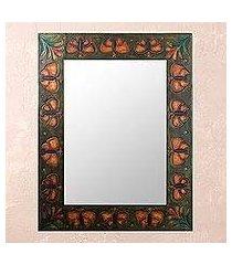 leather mirror, 'bronze butterflies' (peru)