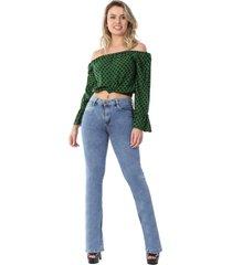 calça jeans sawary feminina flare push up azul