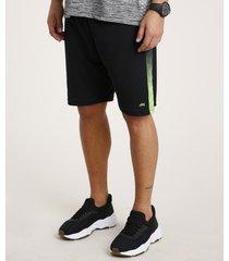 bermuda masculina esportiva ace com faixa lateral degradê preta