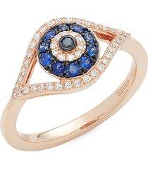 effy women's 14k rose gold, sapphire & black & white diamond evil eye ring/size 7 - size 7