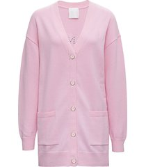givenchy wool and cashmere pink cardigan with logo