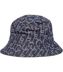 monogram print flat top denim bucket hat