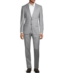boss hugo boss men's regular-fit virgin wool suit - grey - size 34 r