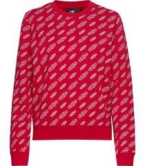 aop cn regular hwk sweat-shirt tröja röd calvin klein jeans