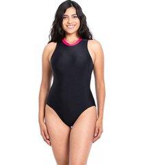 traje de baño enterito deportivo con cierre negro samia