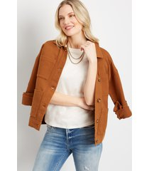 maurices womens cognac pocket cinched utility jacket brown