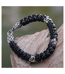 men's leather braided bracelet, 'eagle warrior' (indonesia)