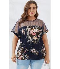 yoins plus talla de malla con estampado floral cuello blusa de manga corta