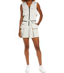 women's jordan heatwave sleeveless flight suit romper, size medium - grey