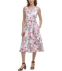 calvin klein floral-print belted a-line dress
