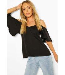 pastel cold shoulder cami top, black