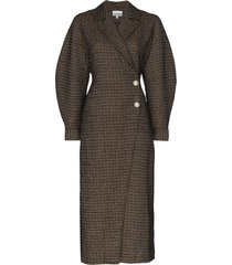 ganni crystal-flower checked coat - brown
