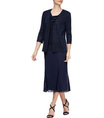 women's alex evenings cowl neck shimmer midi dress with jacket, size 10 - blue