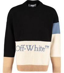 off-white logo detail color-block sweater