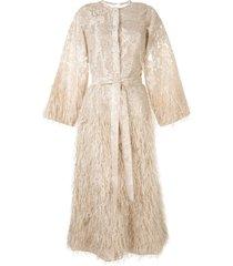 bambah lilly feather trim kaftan dress - neutrals