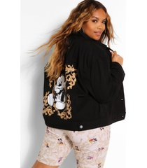 disney x boohoo plus mickey graphic jean jacket, black
