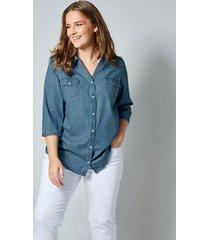 jeansblouse janet & joyce blauw::wit