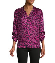 cheetah-print silk blouse