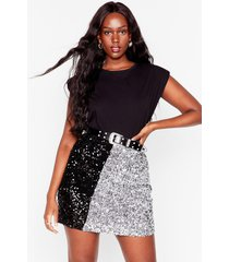 womens sequin us over plus two-tone mini skirt - silver