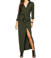 women loose chiffon blouse tops long sleeve slit belted wrap casual dress shirt