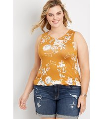 maurices plus size womens 24/7 floral strappy back tank