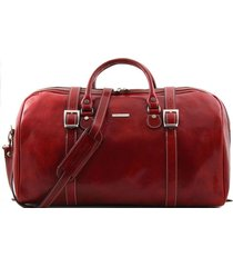tuscany leather tl1013 berlino - borsa da viaggio in pelle con fibbie - misura grande rosso