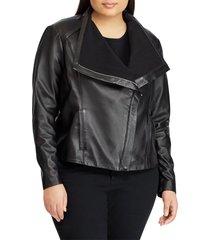 plus size women's lauren ralph lauren drape front leather jacket, size 3x - black