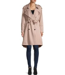 allsaints women's lia double-breasted trench coat - quartz pink - size s