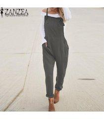 zanzea mujeres largo bib pantalones peto mono mameluco más el tamaño de traje de trabajo -gris