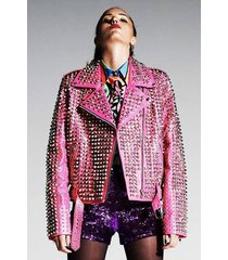 new womens pure silver full studded brando style pink leather jacket all size