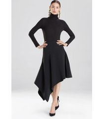 crepe asymmetrical skirt, women's, black, size 0, josie natori